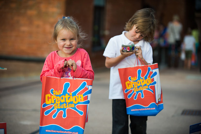 Creation Station birthday party goody bags supplied
