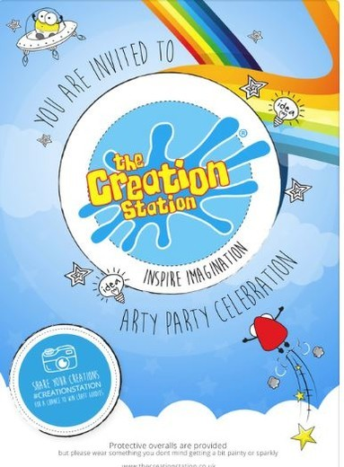 Creation Station birthday party invitations included
