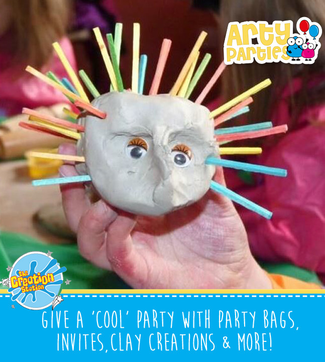 Kids party entertainment with clay