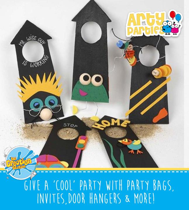 Kids party entertainment with door hangers