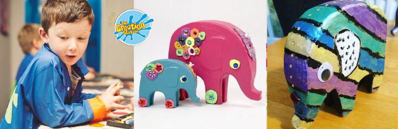Creation Station Elephant birthday party fun