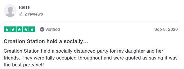 Socially distanced Creation Station party review