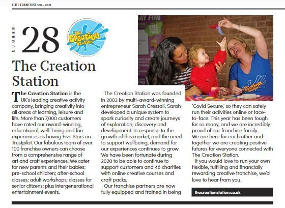 Creation Station ranks 28 out of top 100 franchises